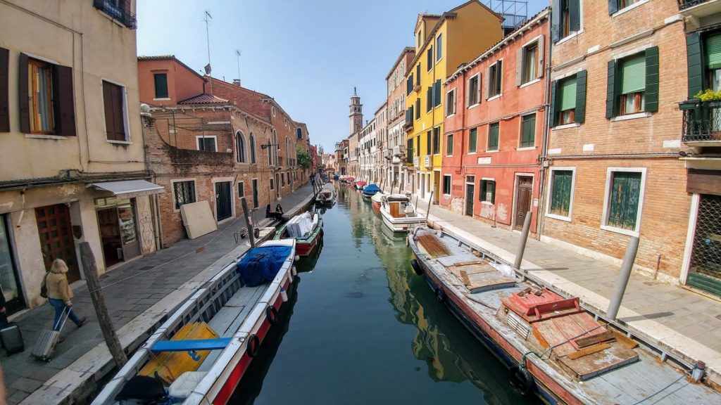 Looking down a canal in Venice