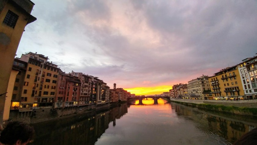 Looking over the River Arno in Florence at sunset