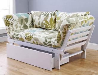 White Elite Frame with English Garden Mattress - Sofa Position