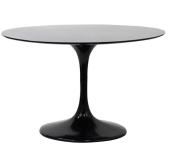 Lippa Saarinen Inspired Fiberglass Round Dining Table in Black