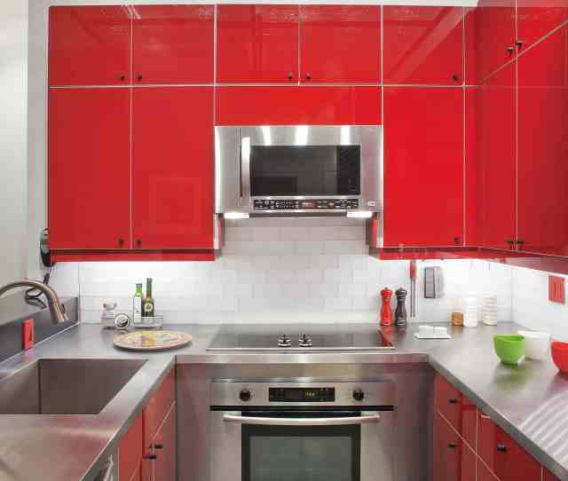 Contemporary Burgundy Kitchen Decor With Flat Panel Cabinets Image