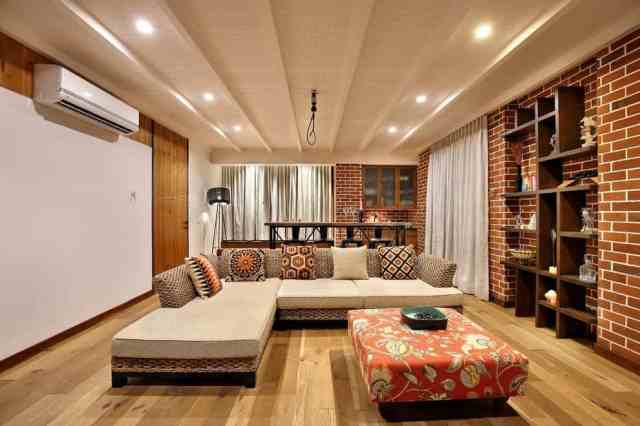 Modern Indian Living Room With Decorative Brick Wall ...