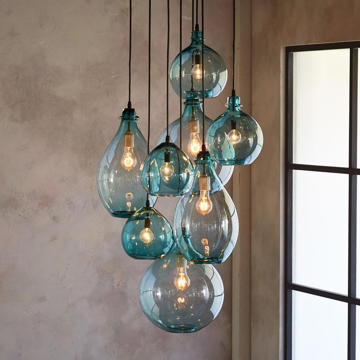 25 Ideas Of Turquoise Blown Glass Chandeliers Chandelier