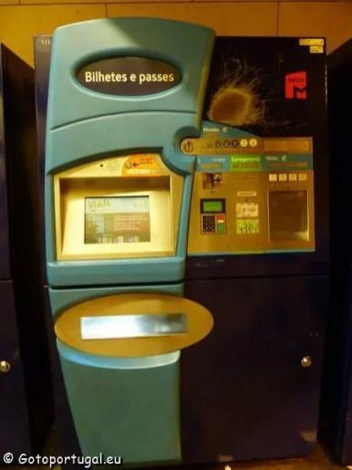 Automate tickets metro Lisbonne