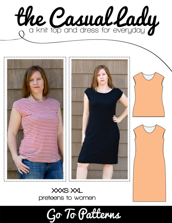 the Casual Lady shirt/top and dress sewing pattern for women