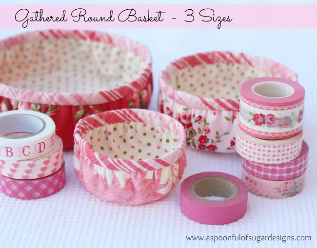 We're lovin' these gathered fabric baskets by A Spoonful of Sugar Designs. They come in 3 different sizes and are perfect for storing knick knacks. -Sewtorial