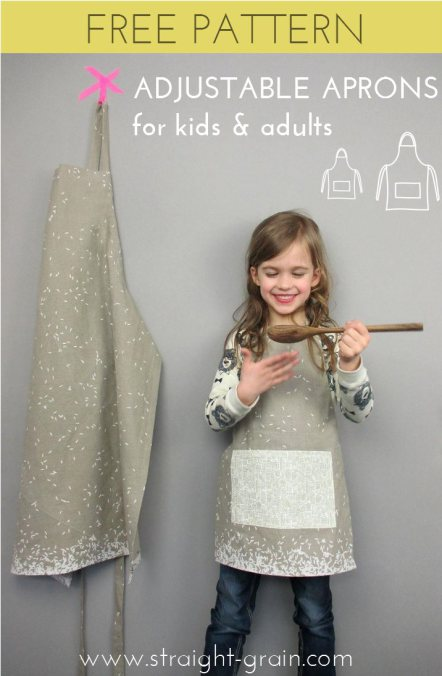 Straight Grain adds a little cook time fun with this kitchen apron tutorial for sizes kids to adults. -Sewtorial