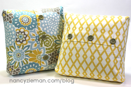 Add lovely detail and interest to your living space with this Boxed-Cornered Buttoned Pillow tutorial by Nancy Zieman. -Sewtorial.