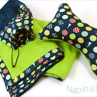 Sew 4 Home's Nap in a Bag tutorial shows how to make a blanket and matching pillow neatly stored in a drawstring bag with a storage pocket. -Sewtorial