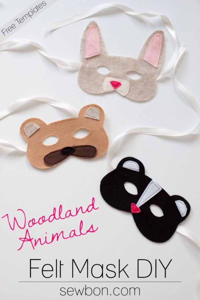 Take playtime to another level with these cute woodland animal play masks by Sew Bon. Rabbits, bears, and skunks have never looked more adorable. -Sewtorial