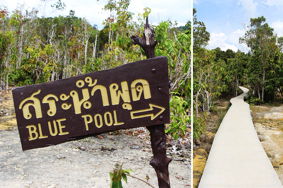 Sign to the Blue Pool in Krabi