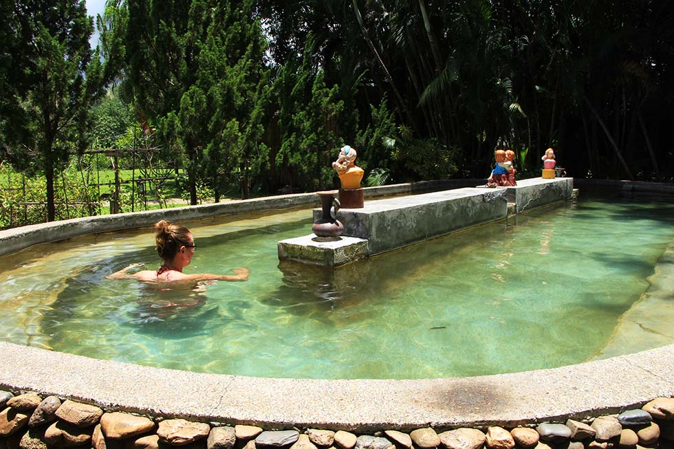 Taking a dip in the mineral pool - Pai Hotsprings Spa Resort in Pai