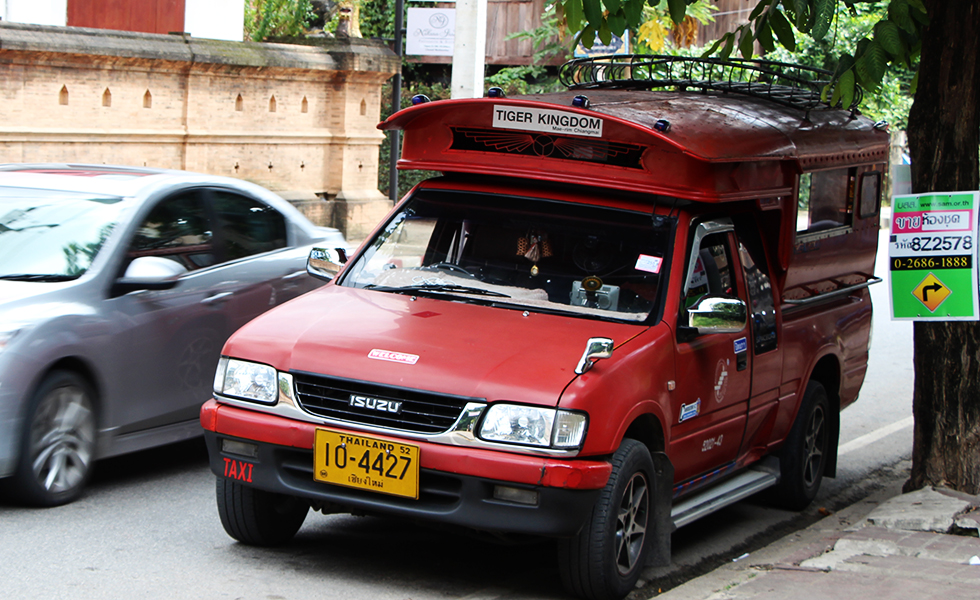 Songthaew - red taxi in Chiang Mai