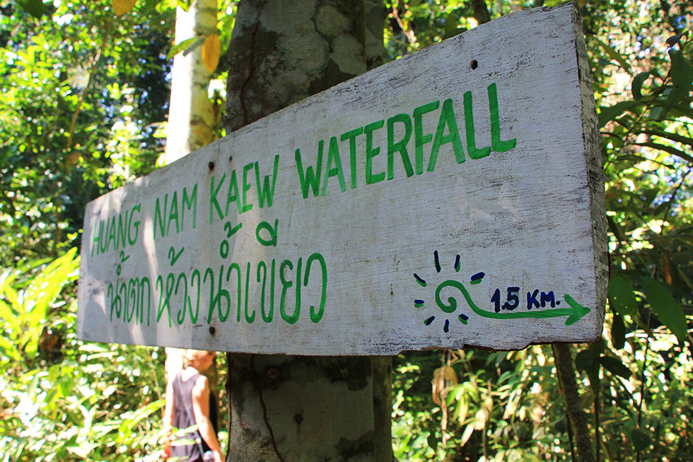 Sign to the Huang Nam Kaew Waterfall in Koh Kood