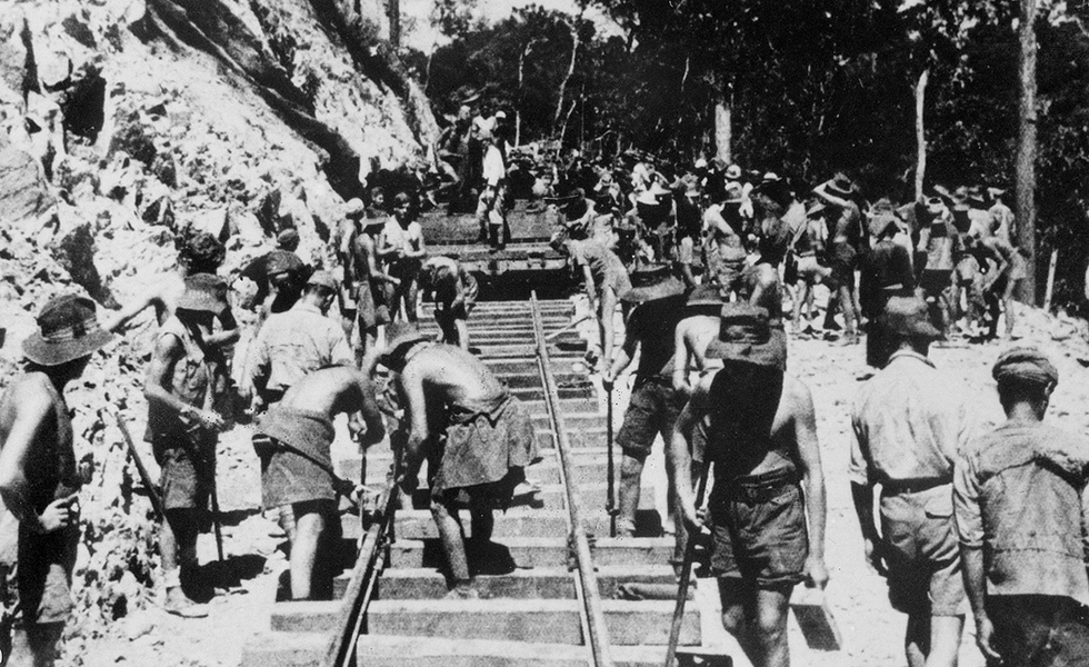 Hundreds of thousands of POWs were forced to work on building the Burma Railway