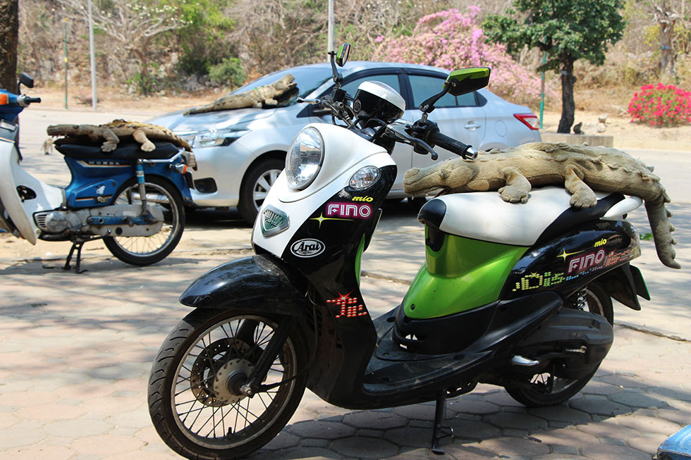 Parking at Khao Luang Cave in Phetchaburi