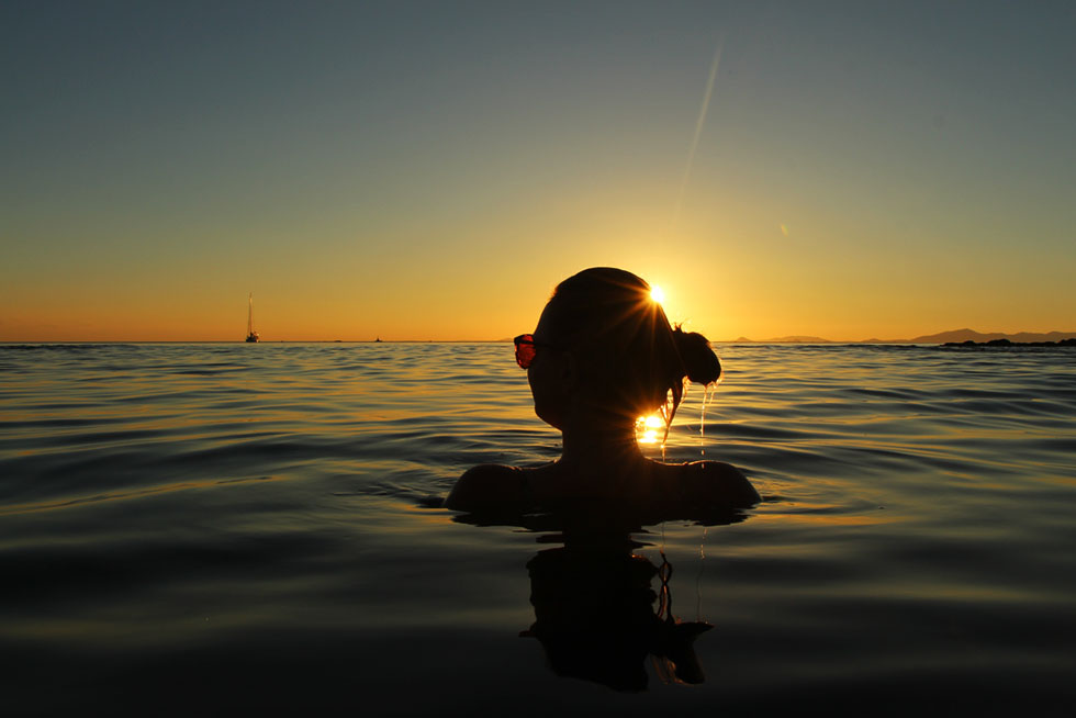 Mariska enjoying the sunet in the sea