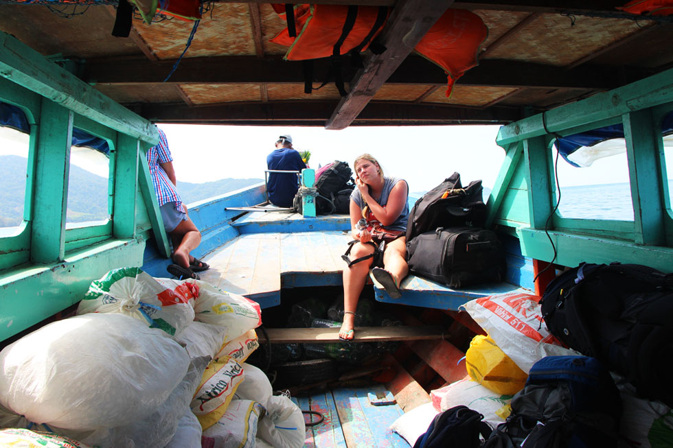 The slowboat from Ranong to Koh Chang Noi - packed with ice!