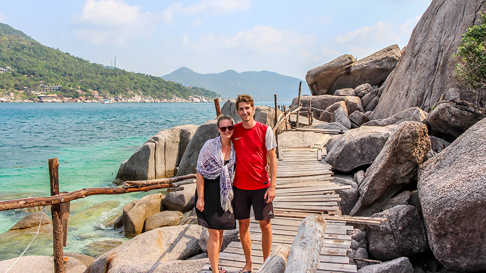Sander and Mariska on Koh Nang Yuan near Koh Tao