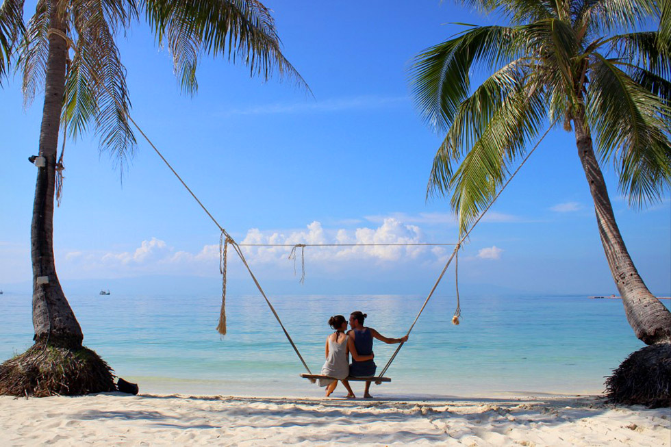 A romantic swing on Leela Beach