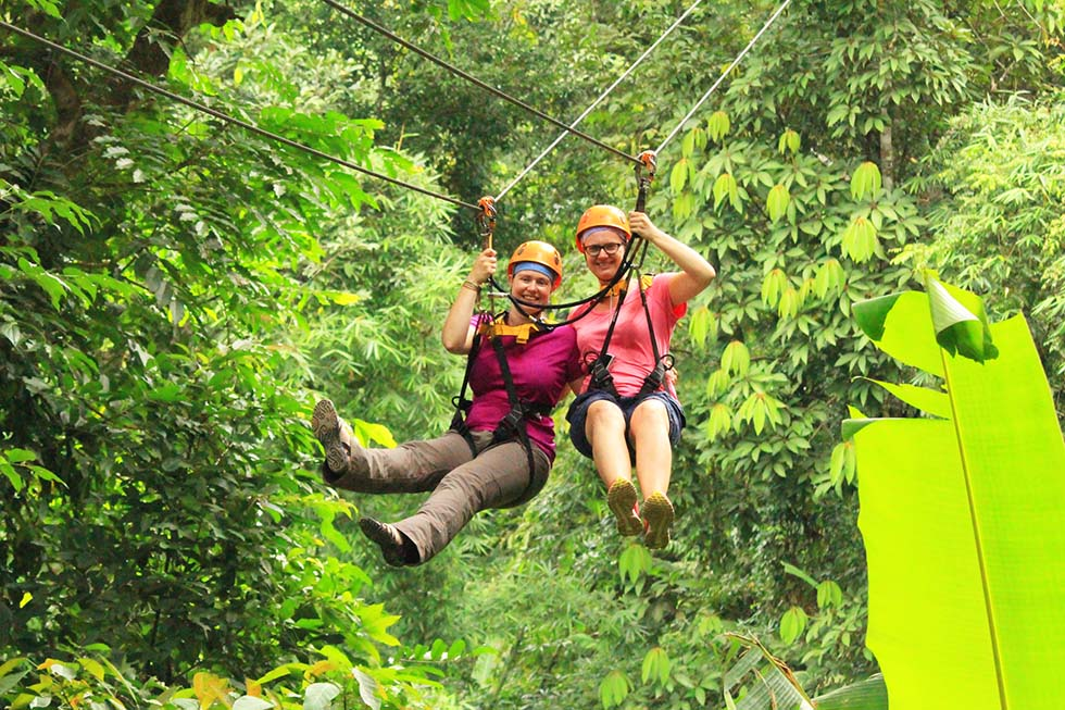 Me and my sister ziplining in Chiang Mai