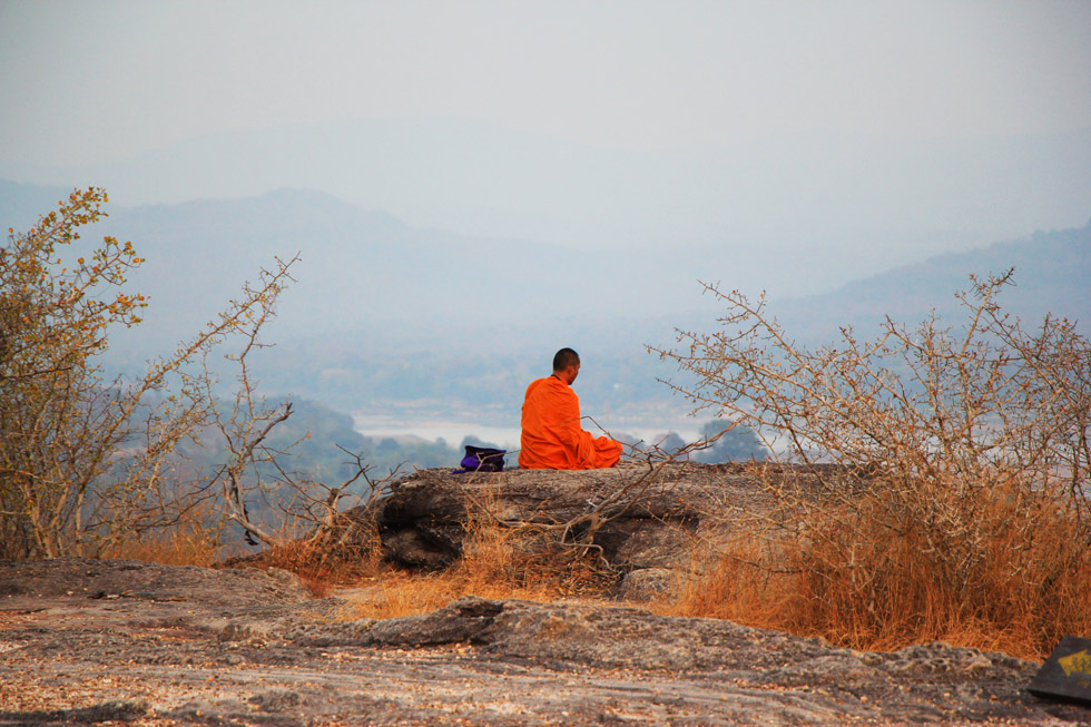 The perfect spot for meditation in Rock Paintings in Pha Taem National Park