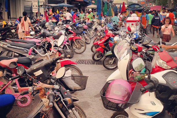 Loads of motorbikes at Phimai's Night Bazaar