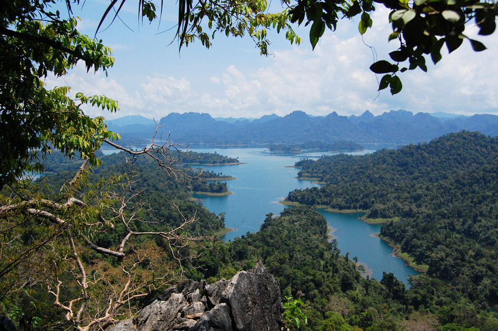 View from San Yang Roi Viewpoint on Cheow Lan Lake in Khao Sok National Park