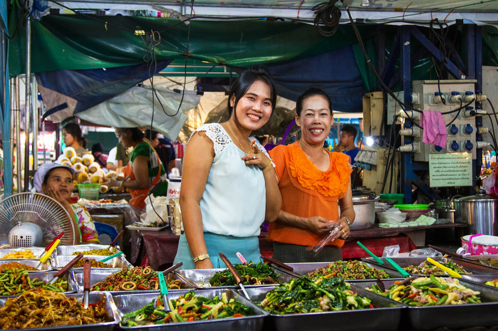 Ladies selling Thai food at the Night Bazaar in Rayong