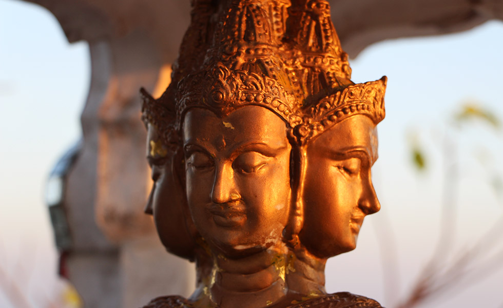 Bhudda heads at the Tiger Cave Temple in Krabi