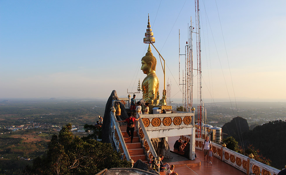 Bhudda statue at the summit of the Tiger Cave Temple in Krabi