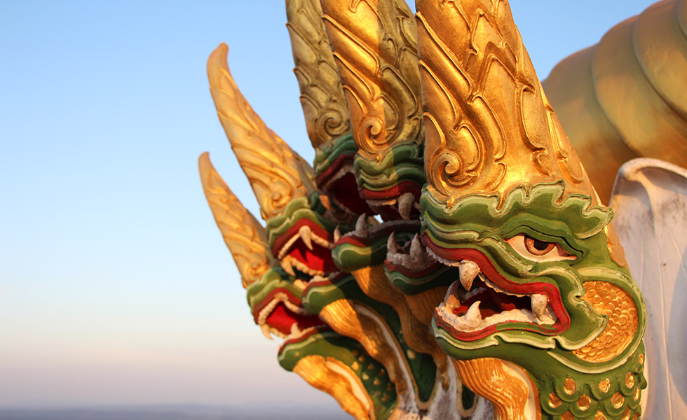 Dragon ornaments at the Tiger Cave Temple in Krabi