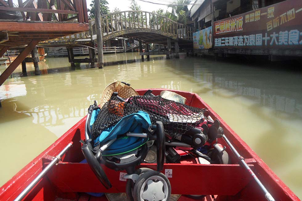 Off to the Floating Market? Leave your buggy at the front and go! - Thailand with kids