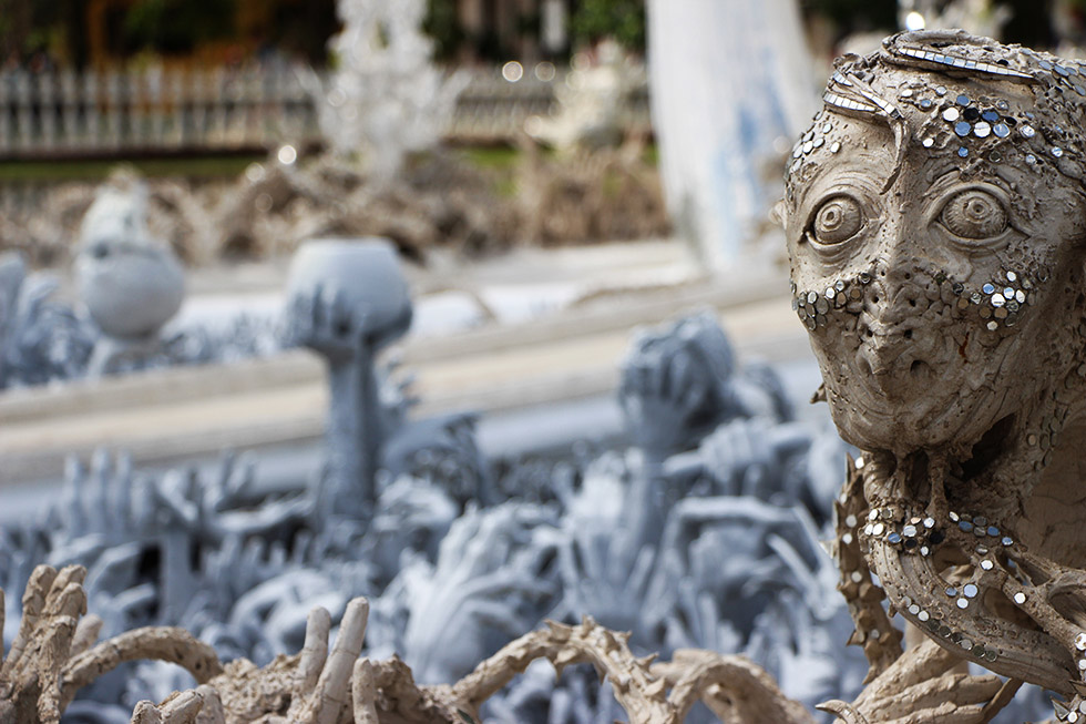 A close up of everything that's going on at Wat Rong Khun in Chiang Rai