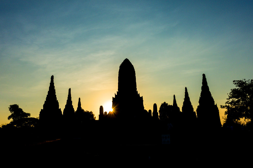 Sunset falling over Ayutthaya