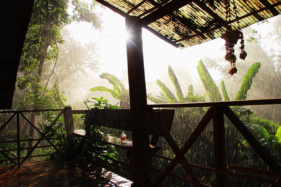 A sunny shower, as seen from our little balcony in Pai.