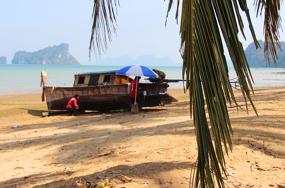 Repairing a boat on the beat - Koh Yao Noi