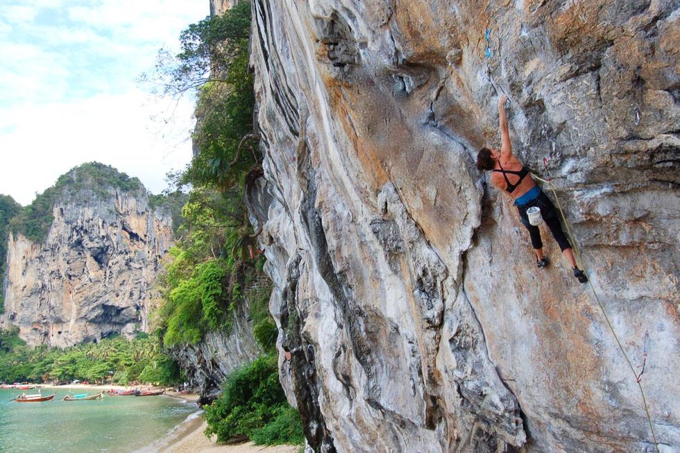 Climbing Tonsai Wall on Koh Phi Phi