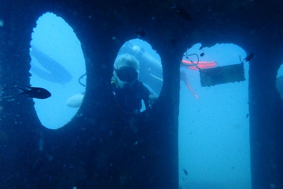 Diving at HTMS Sattakut Wreck in Koh Tao