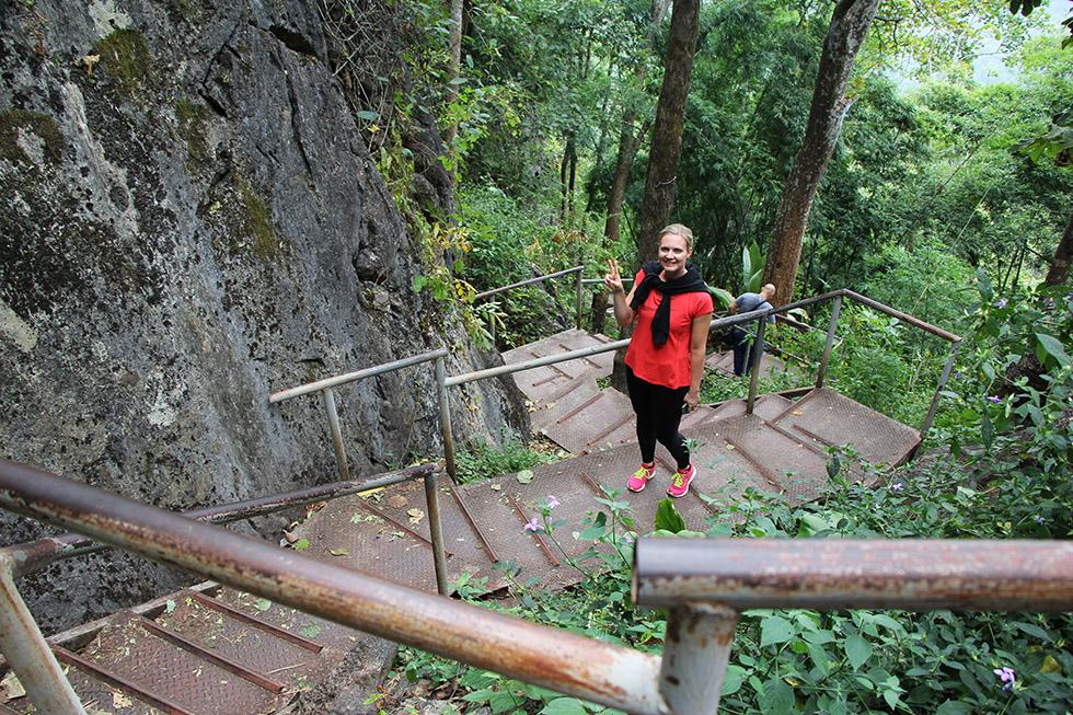 Climbing to Wat Chalermprakiat in Lampang
