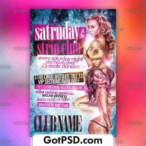 Saturdays at the Strip Club Flyer Psd Template - Gotpsd.com