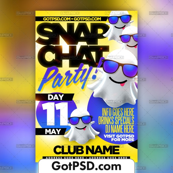 Snapchat Party Flyer Psd Template - Gotpsd.com