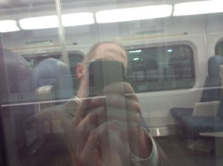 Self Portrait on LSW Train, 10 p.m. Photo by Sam Teasdale