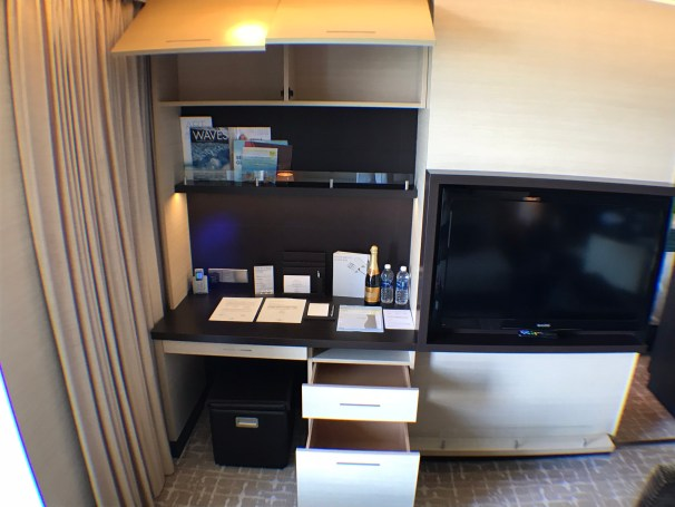 Haven main living room desk area and storage