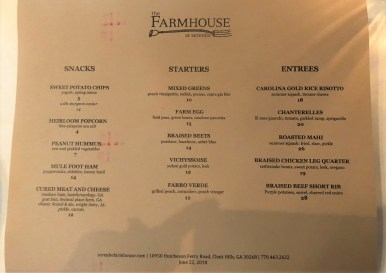 Farmhouse menu