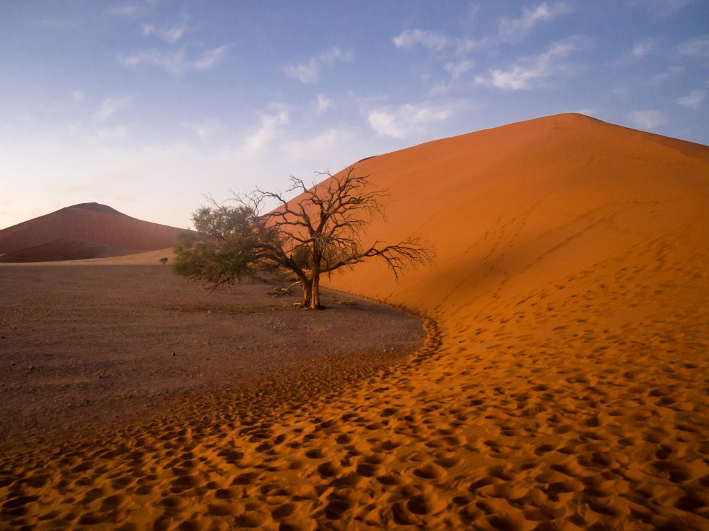 First View of Dune 45 in Sossuvlei, Namibia.