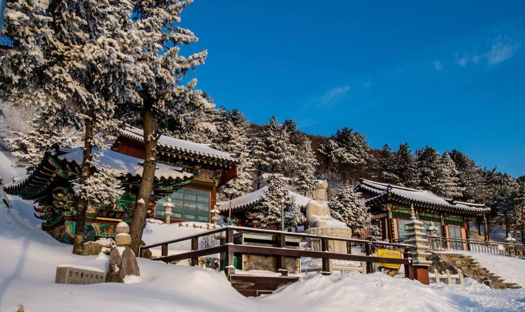 Manggyeongsa Temple in the snow in Taebaeksan National Park.