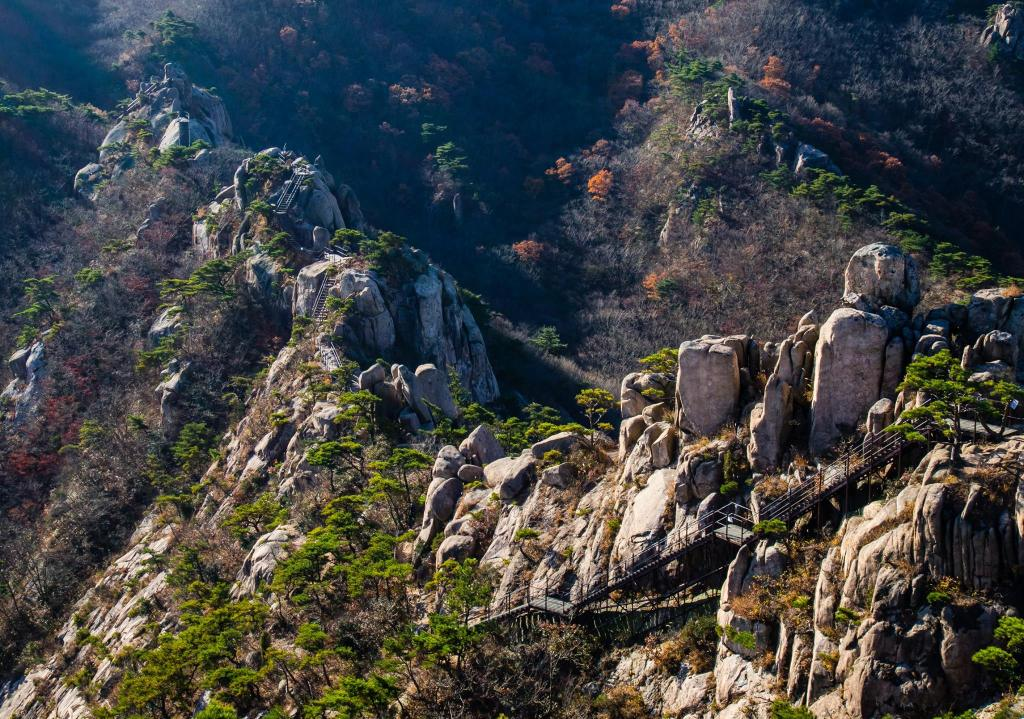 Stairs and walkways over trickier rock sections at Wolchulsan National Park.
