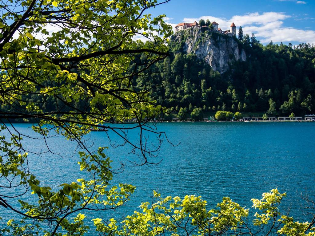 View of Castle from walkway around Lake bled
