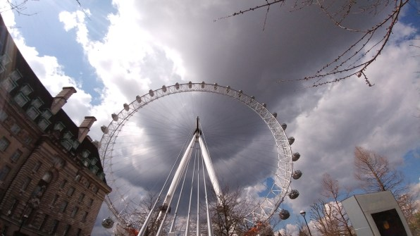 A wide angle picture of The London Eye